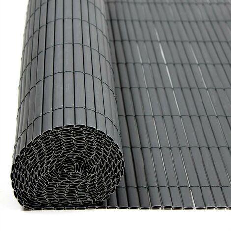 Écran de confidentialité de clôture PVC gris de balcon de clôture 1,6x10,0m