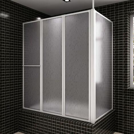 Écran de douche en forme de L 4 panneaux 120x70x137 cm