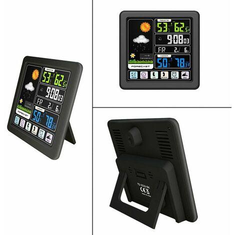 ecran Tactile Couleur Lcd Station Meteo Sans Fil Reveil Thermometre Hygrometre - Bois,
