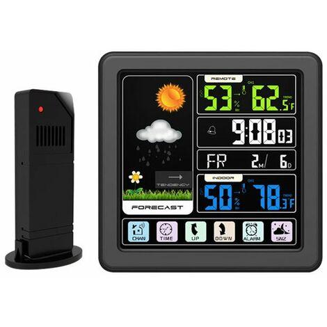 ecran Tactile Couleur Lcd Station Meteo Sans Fil Reveil Thermometre Hygrometre - Bois.