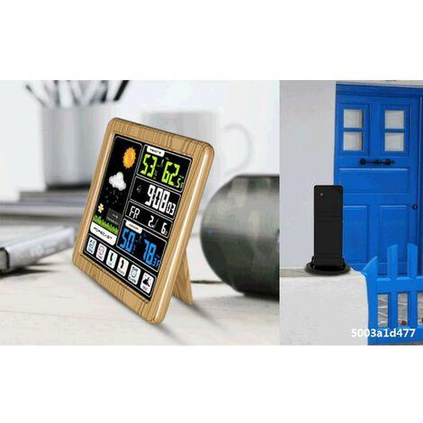 ecran Tactile Couleur Lcd Station Meteo Sans, Fil Reveil Thermometre Hygrometre - Bois