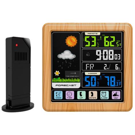 ecran Tactile Couleur Lcd Station Meteo Sans Fil Reveil Thermometre Hygrometre - Bois