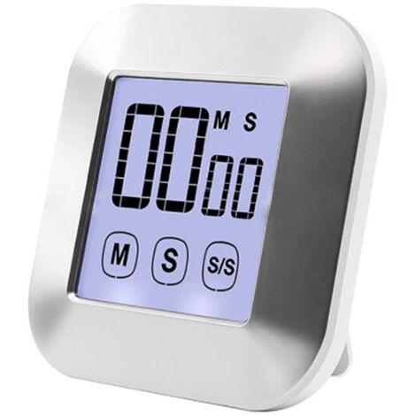 Écran tactile Minuterie de cuisine numérique Chronomètre magnétique Affichage LCD Minuterie électronique Minuterie d'oeufs avec support, réveil fort, minuterie de cuisson