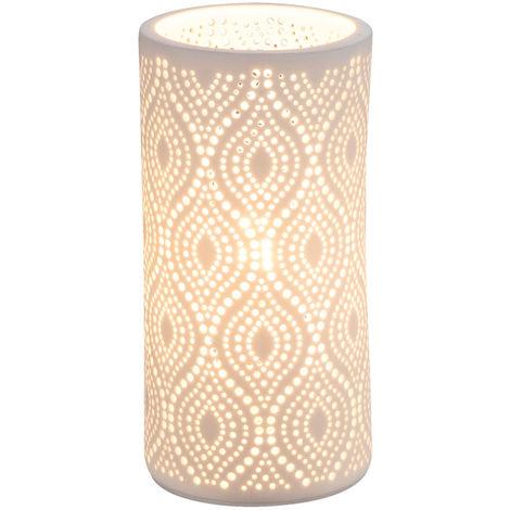 Ecriture lampe de table lecture decor die cut blanc mat salle a manger porcelaine eclairage Globo 15917T