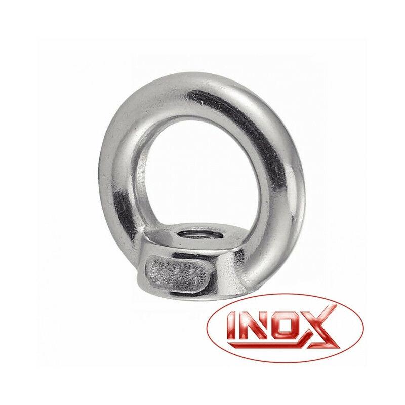 Écrou à anneau inox Filetage (d): M 6 - Ø intérieur (D1): 16 mm - Ø extérieur (D2): 28 mm - Charge de travail: 70 kg - Acton