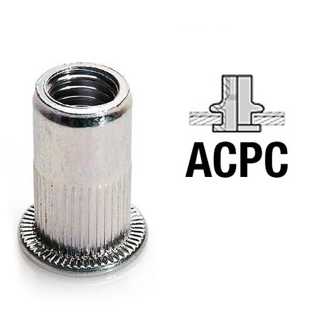 Écrou aveugle à sertir tête plate acier zingué ACPC (m3 0.3 -1.5 mm (100 écrous))
