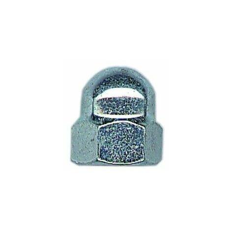 Ecrou borgne en acier zingué blanc M10 (boite de 100)