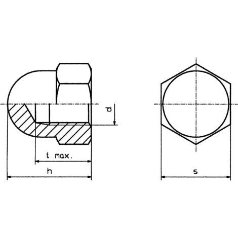 Écrou borgne hexagonal TOOLCRAFT M6 D1587-STAHL:A2K 194789 N/A M6 10 pc(s) S59865