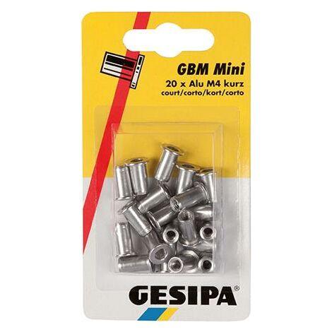 Écrous aveugles en mini-pack M4 courts GESIPA 1 PCS
