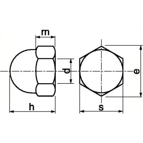 Écrous borgnes inox A2, diamètre 6 mm, boîte de 25 écrous