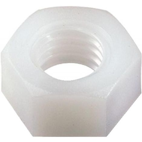 Écrous hexagonaux nylon, diamètre 10 mm, sachet de 100 pièces