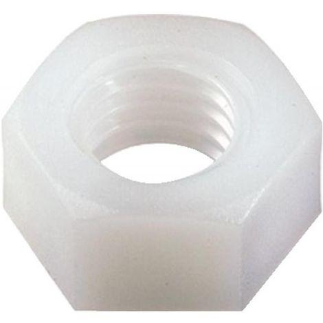 Écrous hexagonaux nylon, diamètre 8 mm, sachet de 100 pièces