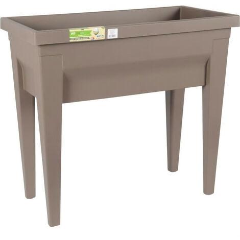EDA Espace potager avec table City Végétable 73x38,5x68cm - Contenance 57L - Taupe