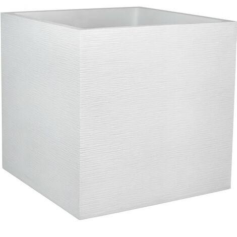 EDA PLASTIQUE Bac a fleurs carré Graphit - 57 L - 49,5 x 49,5 x 49,5 cm - Blanc cérusé