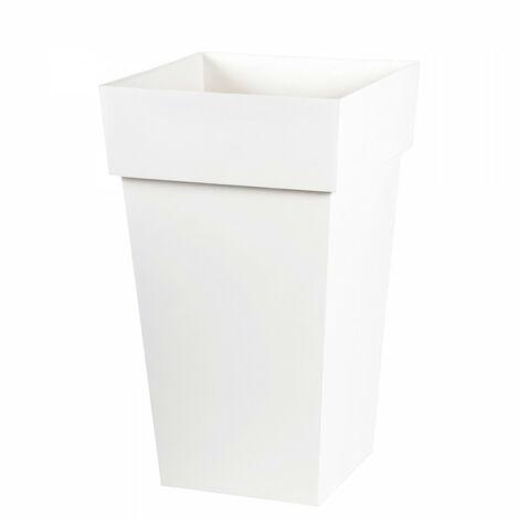EDA Pot de fleur haut carré Toscane - 39 x 39 x H 65 cm - 62 L - Blanc