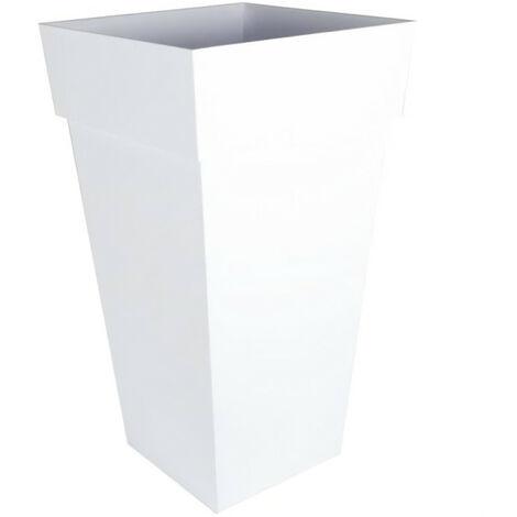"""main image of """"Vase haut carré Toscane XXL Blanc - 43.3x43.3x80cm 98L - EDA Plastiques"""""""