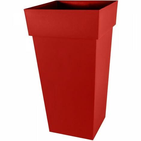 """main image of """"EDA Pot de fleurs XXL Toscane - Carré - 43,3 x 43,3 x H 80 cm - 98 L - Rouge rubis"""""""