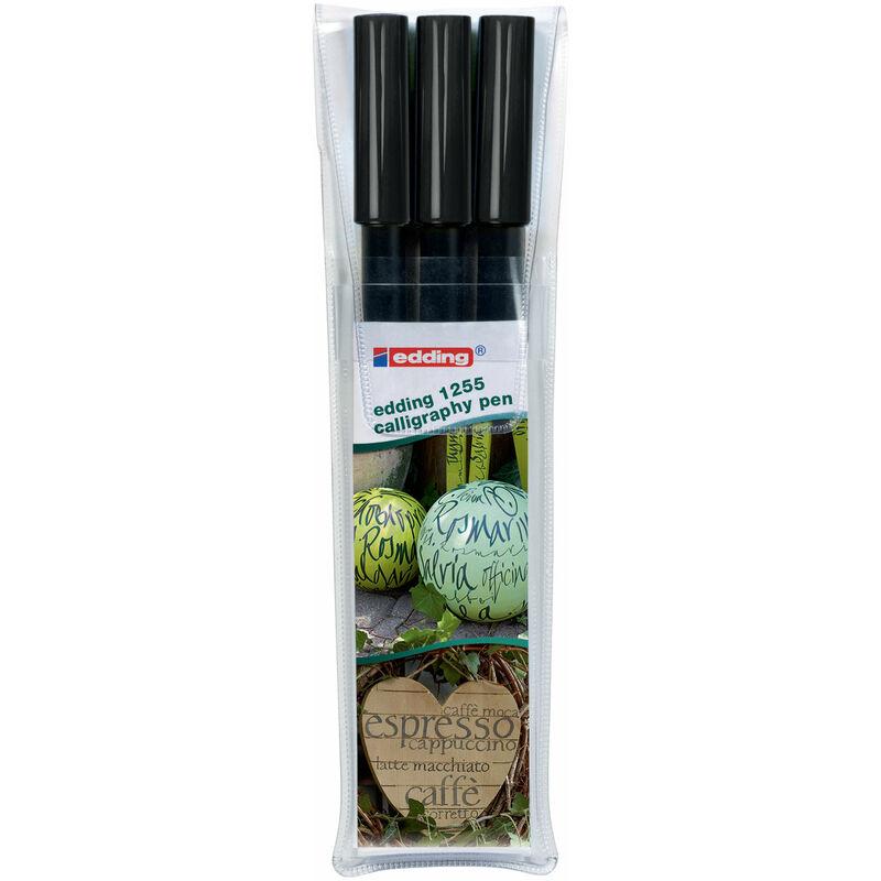 Image of 4-1255-3-001 1255 Calligraphy Pen Black 3 Pack - Edding