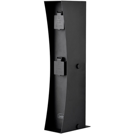 Edelstahl 2-fach Steckdose, schwarz, Höhe 46 cm, Connect D2A