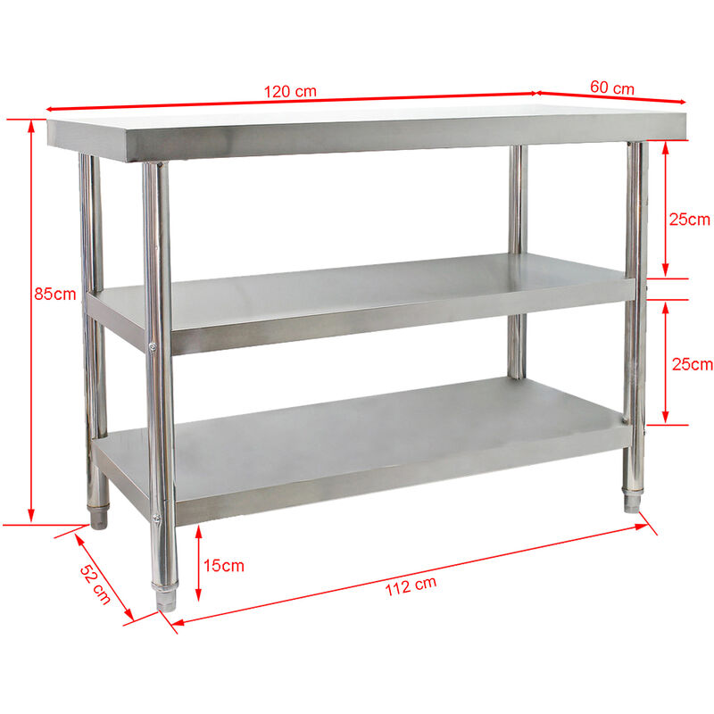Edelstahl Arbeitstisch 120x60x85cm Mit 2 Ablagen Und Hohenverstellbaren Tischfussen 61840