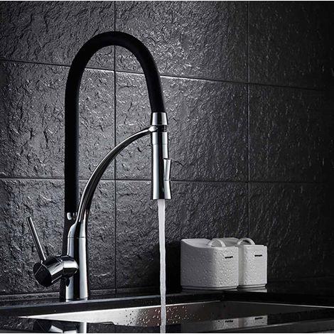 Edelstahl Ausziehbar Spültischarmatur Küchen Wasserhahn mit Brause Waschtisch