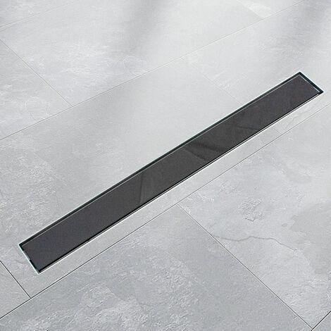 Edelstahl Duschrinnen Ablaufrinnen Bodenablauf Duschrinne Duschablauf Glas Schwarz (50cm)
