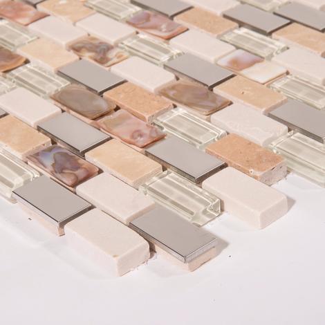 Beliebt 10x10cm Muster. Perlmutt, Edelstahl, Glas und Naturstein Mosaik HF09