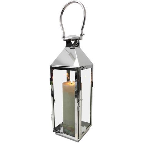 Laterne Edelstahl Glas mit Griff Tür Metall Windlicht Gartenlaterne Kerzenhalter