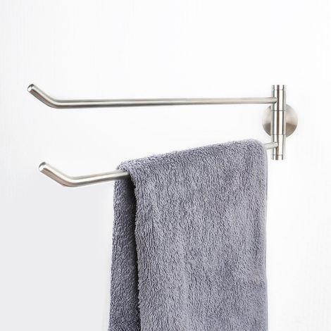 Edelstahl matt gebürsteter Handtuchhalter 2-armig schwenkbare Handtuchstange massiv