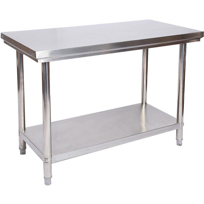 Edelstahl Tisch Arbeitstisch Edelstahltisch Gartentisch 100 x 60 x 85 cm - WILTEC