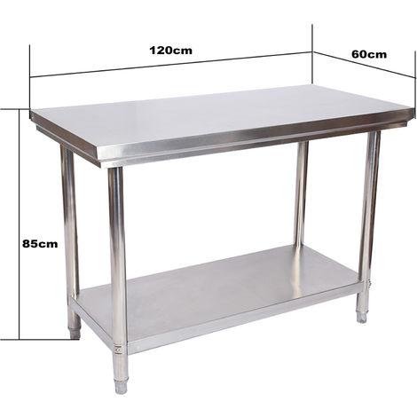 Edelstahl Tisch Arbeitstisch Edelstahltisch Gartentisch 120 X 60 X 85 Cm 60045