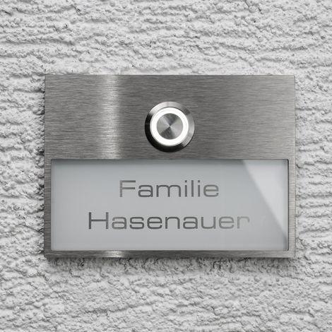 Edelstahl Turklingel Mit Austauschbarem Namensschild In Weiss