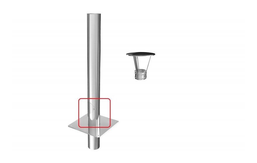 Edelstahl Kaminverlängerung Schornsteinverlängerung DW Ø 80-200 mm doppelwandig