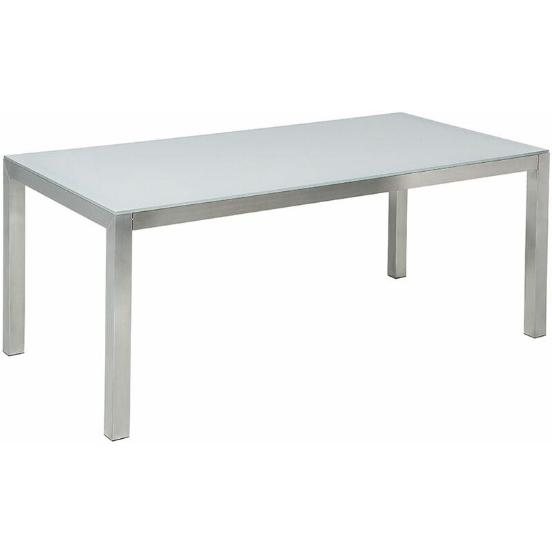 Gartentisch weiß/silber Sicherheitsglas Edelstahl 180 x 90 cm modern Outdoor - BELIANI