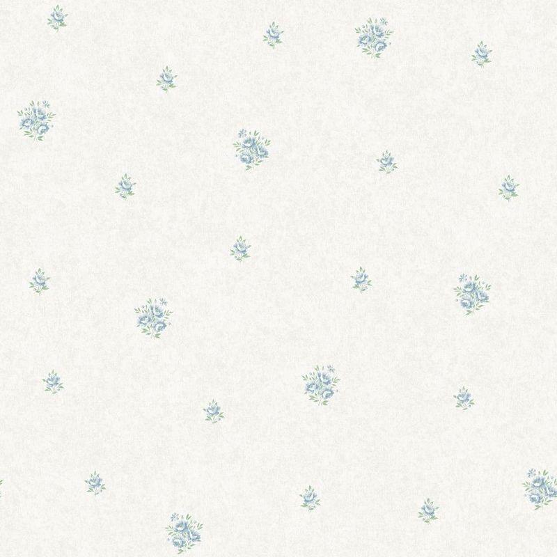 Image of Flower Floral Wallpaper Blue Metallic Mica Shimmer Country Holden - Eden Hall