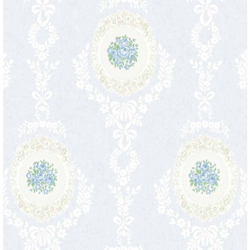 Image of Roses Floral Wallpaper Trellis Flowers Bows Ornamental Blue Mica Shimmer