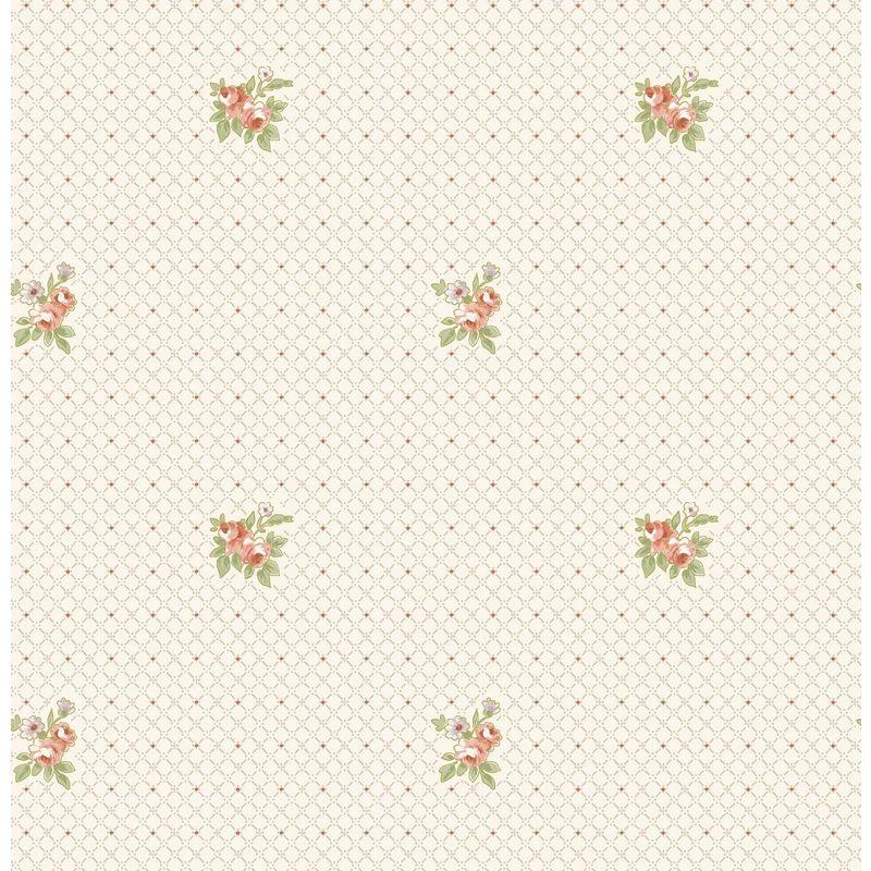 Image of Cream Floral Wallpaper Rose Pink Metallic Geometric Crosshatch Beige Vintage
