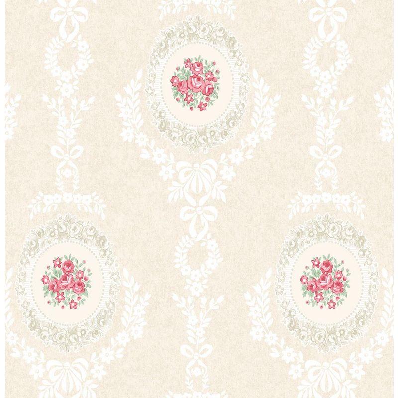 Image of Roses Floral Wallpaper Trellis Flowers Bows Ornamental Pink Mica Shimmer