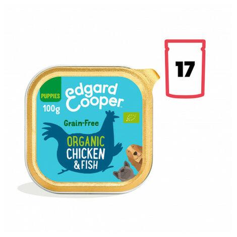 Edgard & Cooper, pack 17 tarrinas sin gluten con pollo ecológico y pescado para cachorros Pack 17 uds