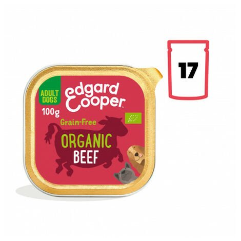 Edgard & Cooper, pack 17 tarrinas sin gluten con vacuno ecológico para perros adultos Pack 17 uds