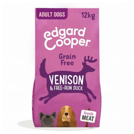 Edgard & Cooper, pienso sin cereales con venado y pato frescos para perros adultos Saco de 12 Kg