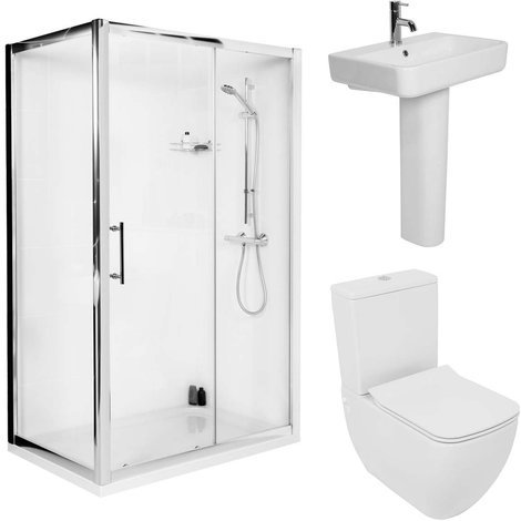 Edge 1200mm Sliding Door Shower Enclosure Suite with Easy Clean Glass