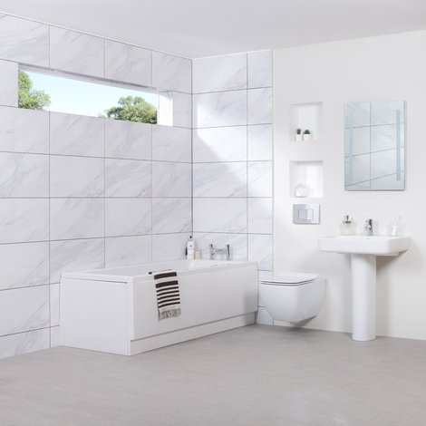 Edge Wall Hung Bathroom Suite with 1700mm Bath
