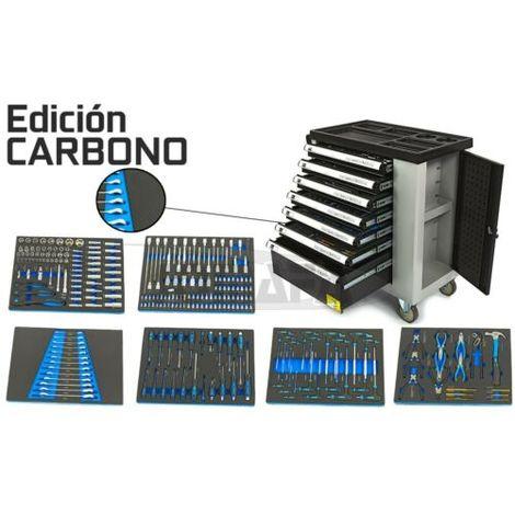 EDICIÓN CARBONO - CARRO DE HERRAMIENTAS PARA TALLER 7 CAJONES CON HERRAMIENTAS