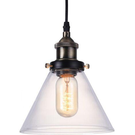 Edison Small Crystal Lampshade Pendant Lamp - Carbon Steel Bronze