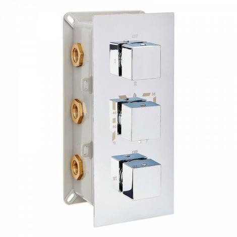 Edle Thermostat-Unterputz-Duscharmatur UP11-02 mit 6 Wege-Umsteller - quadratische Griffe