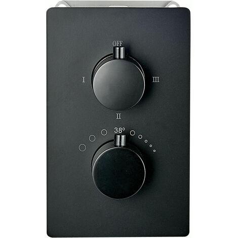 Edle Thermostat-Unterputz-Duscharmatur UP12-01 schwarz mit 3 Wege-Umsteller