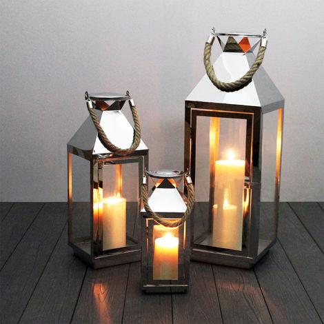 Edles 3tlg. Laternen-Set H55,5/40/25cm, Edelstahl mit Griff aus geflochtenem Seil und Glasfenstern, Laterne Windlicht