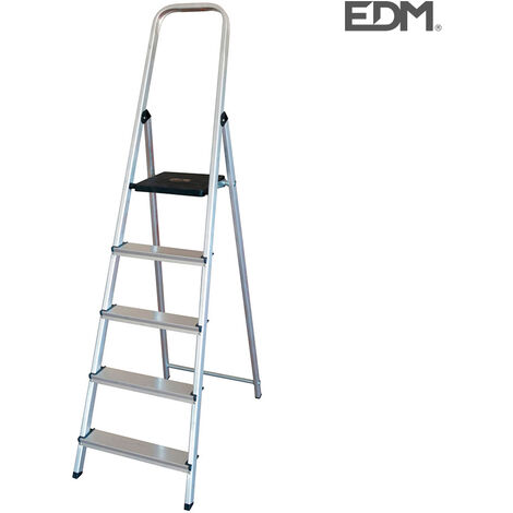 EDM Escalera domestica aluminio 5 peldaños edm