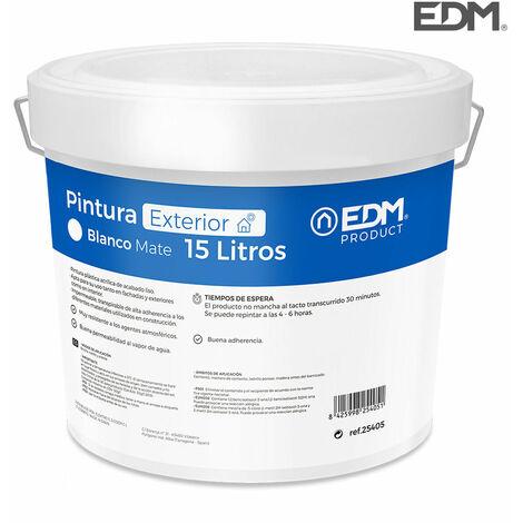 EDM Pintura plastica mate interior / exterior blanca 15l edm